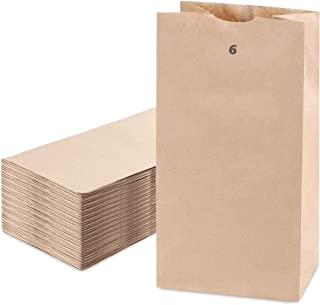 """[200 Pack] Kraft Paper Bags 11 x 6 x 3.5"""" 6 LB Grocery Lunch Retail Shopping Durable Bleached Barrel Sack"""