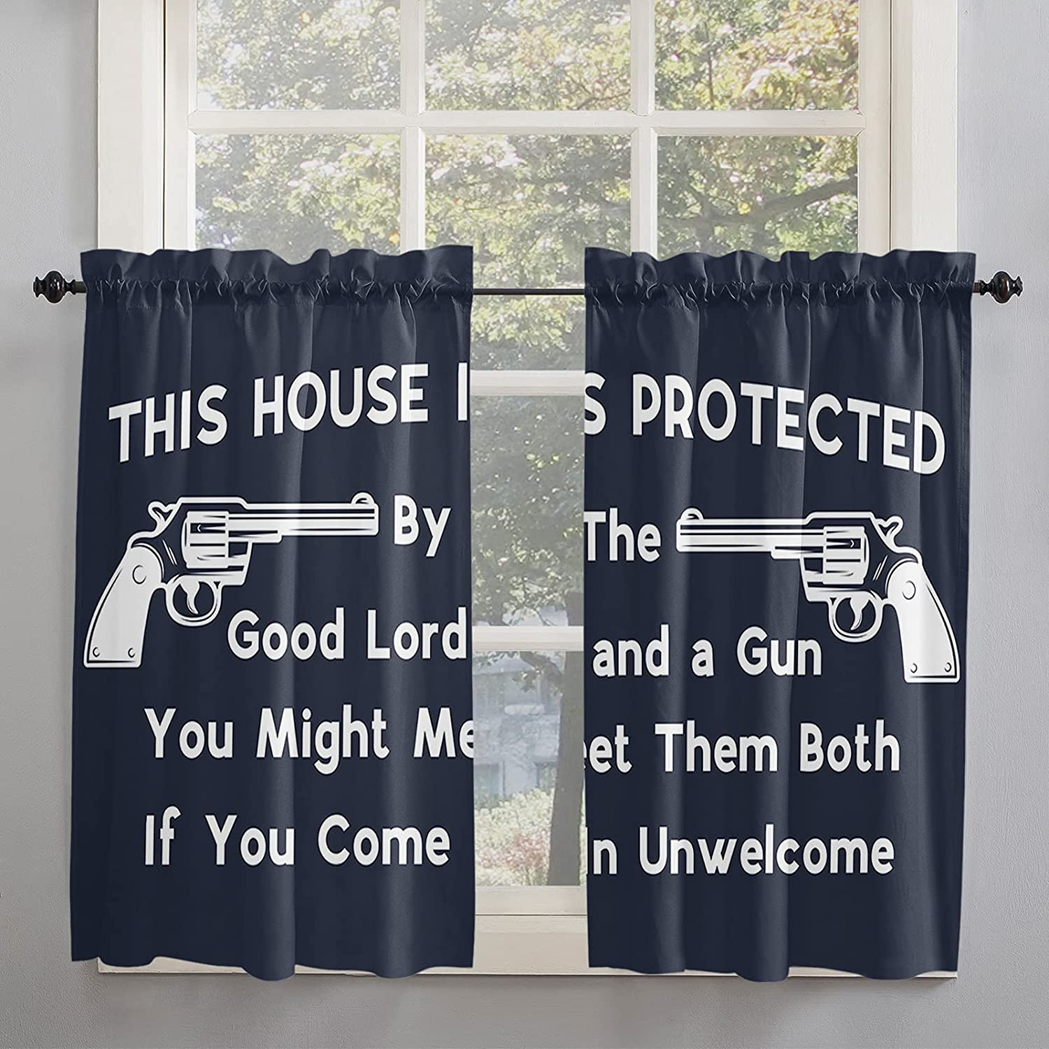 Western Gun Text Theme 2021 new Kitchen Curtains for Windo Ranking TOP11 Length 45 Inch