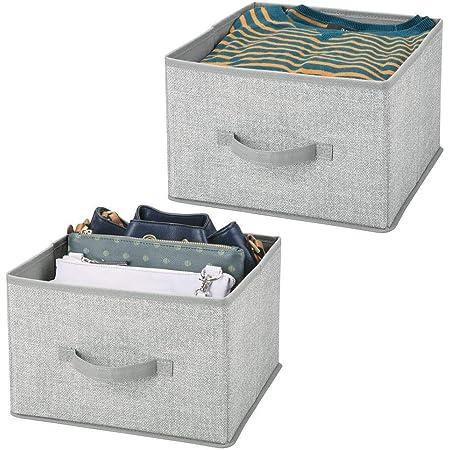mDesign panier de rangement en tissu (lot de 2) – bac de stockage pratique pour rangement de penderie – corbeille de rangement pour vêtements, couvertures, accessoires et plus – gris