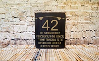 Ruskin352 The Hitchhikers Guide to The Galaxy Sign 42 Dont Panic Douglas Adams Movie Quote Sign Home Theater Man cave Hand Printed Wood Sign