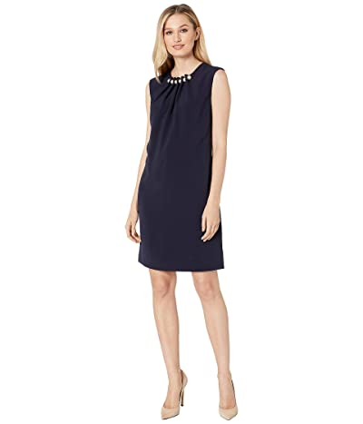 Tahari by ASL Cap Sleeve Sheath with Pearls and Gathered Detail (Navy) Women