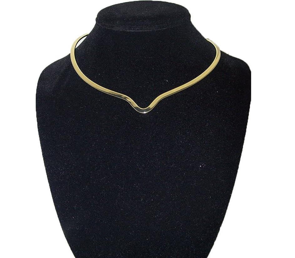 New Shiny Gold Notched Choker Collar Necklace Wire Average Size (CV13)