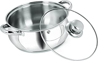 Neelam 8904052704751 Stainless Steel Neelam Belly Sauce pot with Glass lid and Induction base 16 cm