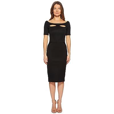 Zac Posen Bondage Jersey Short Sleeve Boat Neck Dress (Black) Women