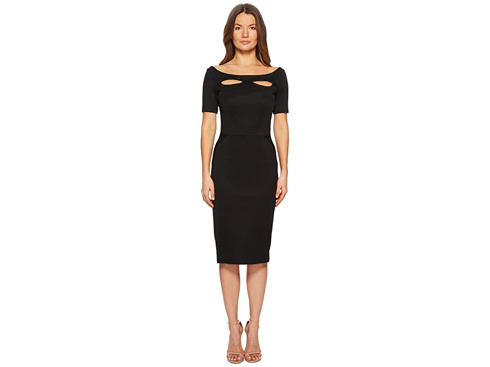 Zac Posen Bondage Jersey Short Sleeve Boat Neck Dress (Black) Women