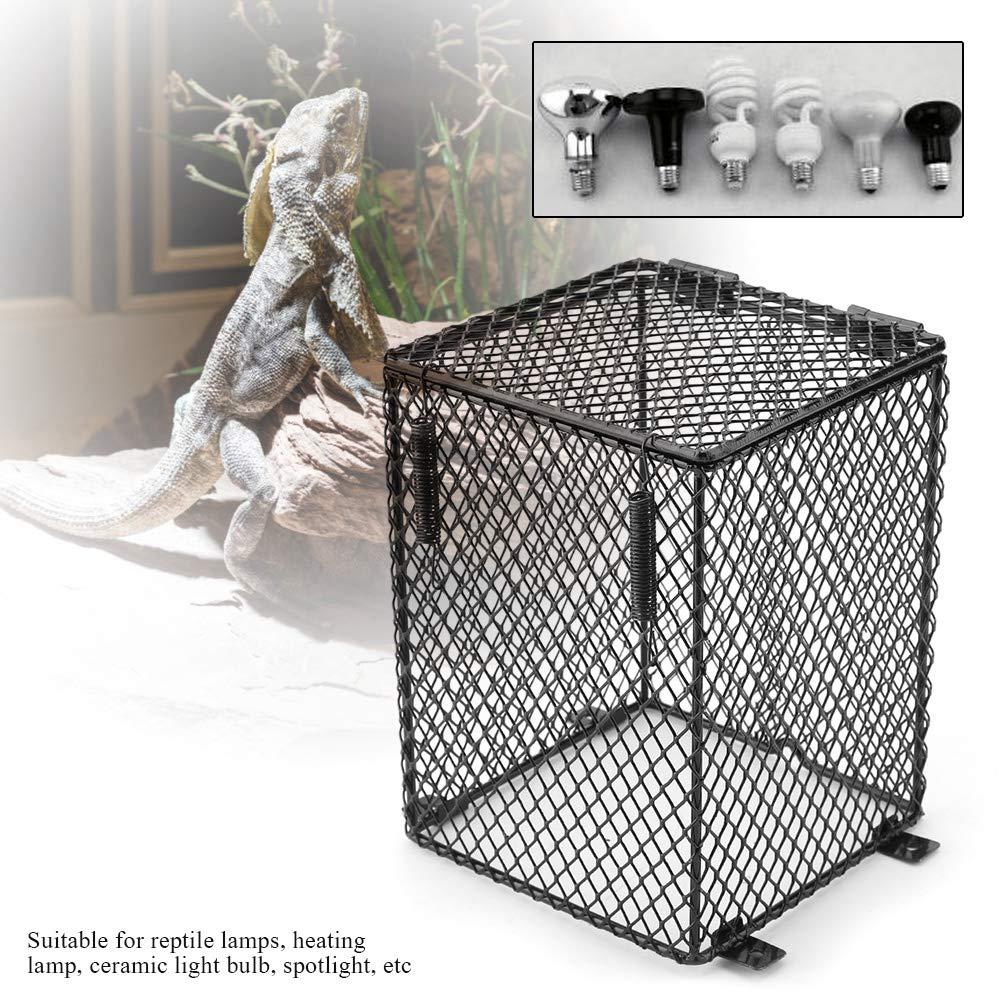 Fdit Pet Reptile Anti-Scald Lamp Mesh Cover Round Square Day Night Ceramic Light Bulb Heating Lampshade