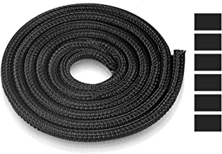 AGPTEK Manchon de Câble Gaine 6M Souple Ajustable, Gestion des Câbles Rangement Tressée Fendue en PET, Diamètre 5-10mm Pro...