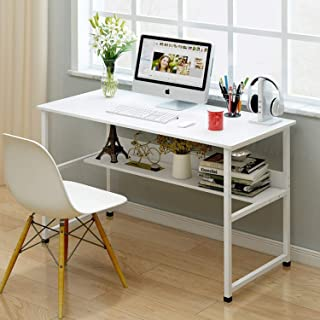 120 * 45 Writing Computer Desk Table Sturdy Study Table Home Office Desk with Shelves (45 x 120 cm, white)