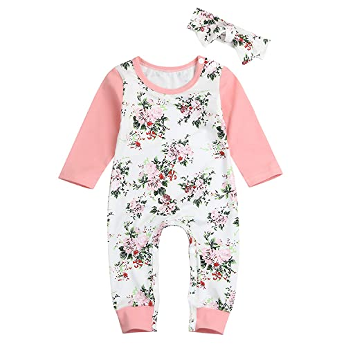 f642631bdfaf Newborn Toddler Baby Girls Floral Long Sleeve Romper Onesies Fall Winter  Bodysuit Casual Outfits Set