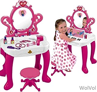 WolVol 2-in-1 Vanity Set Girls Toy Makeup Accessories with Working Piano & Flashing Lights, Big Mirror, Cosmetics, Working Hair Dryer - Glowing Princess Will Appear When Pressing The Mirror-Button