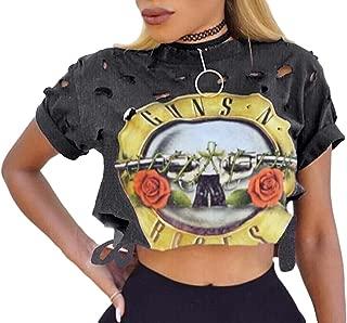 Women's Short Sleeve Ripped Guns N Rose Crop Tops