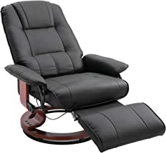 Faux Leather Adjustable Manual Traditional Swivel Base Recliner Chair with Footrest - Black
