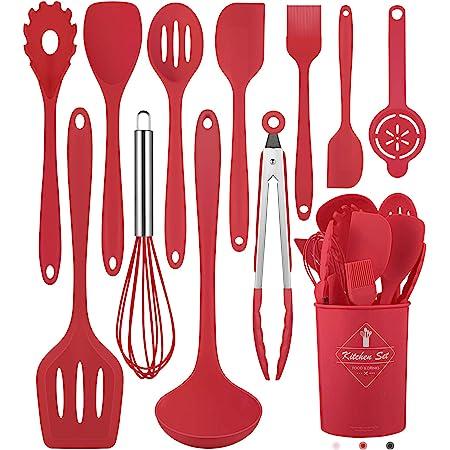 Juego de 12 utensilios de cocina de silicona (apto para lavavajillas) 400 °F resistente al calor, juego de utensilios de cocina para utensilios de cocina antiadherentes, las mejores herramientas de cocina con soporte (sin BPA)