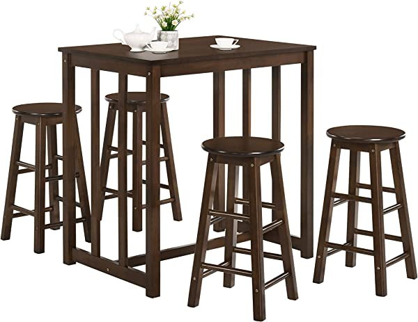 Merax 5 Piece Solid Wood Dining Table Set Kitchen High Pub Table Set With 4 Bar Stools Espresso