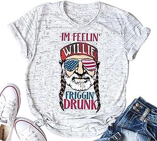Im Feelin' Willie Friggin' Drunk T Shirt Women's American Flag Glasses Old Men Cute Tops