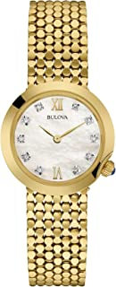 Bulova - Diamond - Reloj de Pulsera de Diseño para Mujer, Acero Inoxidable, Dorado