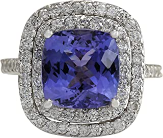 6.09 Carat Natural Blue Tanzanite and Diamond (F-G Color, VS1-VS2 Clarity) 14K White Gold Luxury Cocktail Ring for Women Exclusively Handcrafted in USA