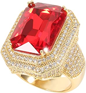 Men's 18K Gold Plated CZ Rhinestone Fully Iced Out Bling Bling Ruby Cuban Square Ring