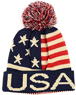 Selini Winter Hat - Knit, Cuffed Beanie with Pom Pom, USA Flag Design, Warm Fun for Cold Days, Small-Medium