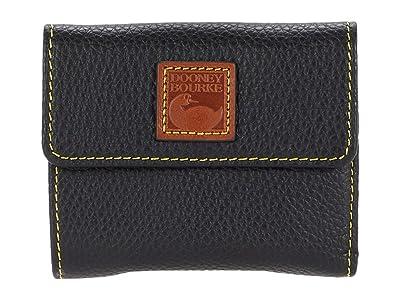 Dooney & Bourke Pebble Small Flap Wallet (Black) Handbags