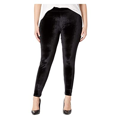HUE Plus Size Velvet Leggings (Black) Women