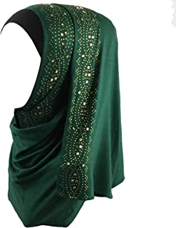 Cotton Jersey Hijab Scarf Wrap Glittering Rhinestones Scarf for Women