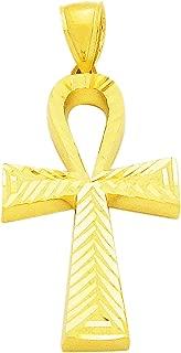 10K Yellow Gold Egyptian Ankh Cross Pendant Diamond Cut Ankh Charm 1.5 inch