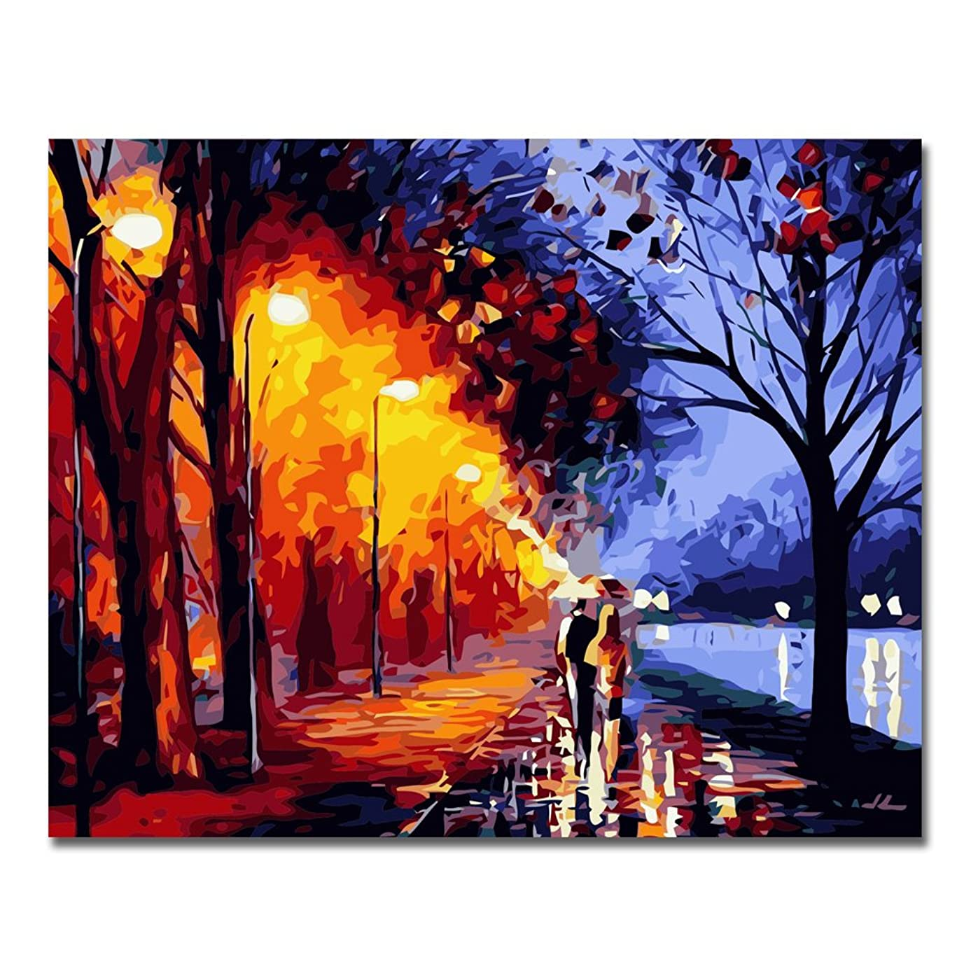 LIUDAO Paint by Number Kits 16 x 20 inch Canvas DIY Oil Painting for Kids Students Adults Beginner with Brushes and Acrylic Pigment - Romantic Street Light (Without Frame)
