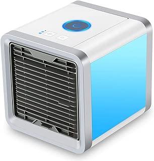 مكيف هواء صغير محمول USB مبرد هواء شخصي 3 في 1 مكيفات هواء محمولة، مرطّب، منقي مع 7 أضواء ملونة