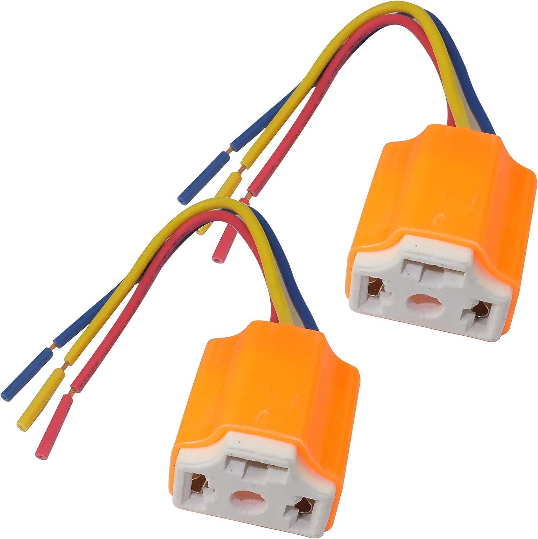 C47204 color naranja AERZETIX Juego de 2 enchufe hembra conector de faros H4 cer/ámica
