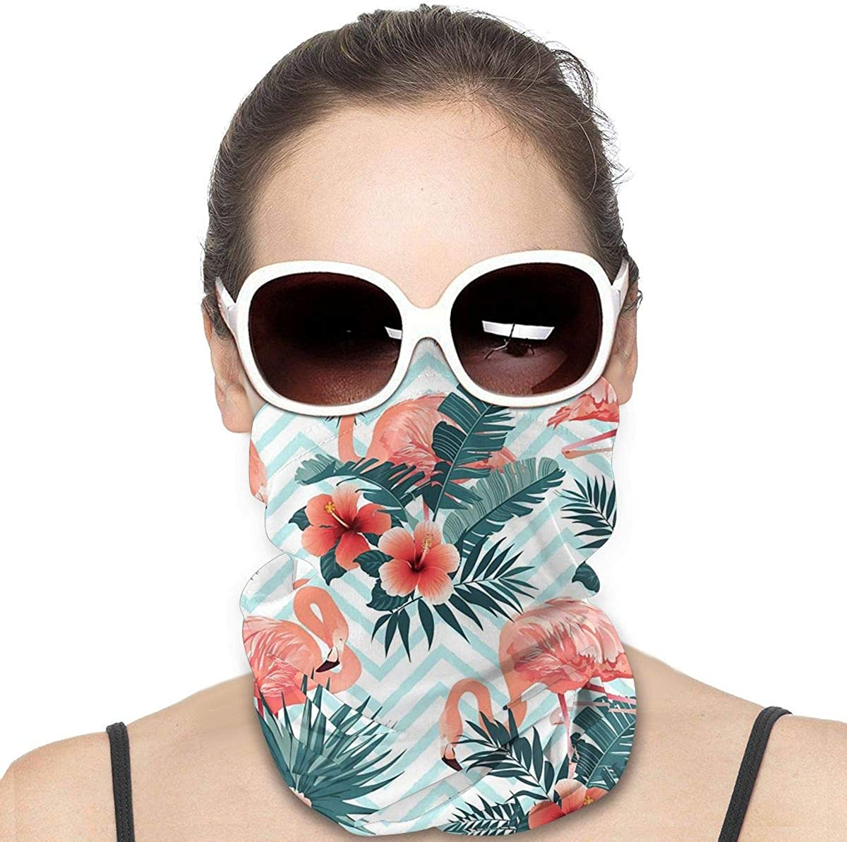 KiuLoam Women Bandanas Face Mask, Tropical Flowers Flamingo Neck Gaiter Mask Headband for Men Face Scarf Dust, Outdoors, Sports