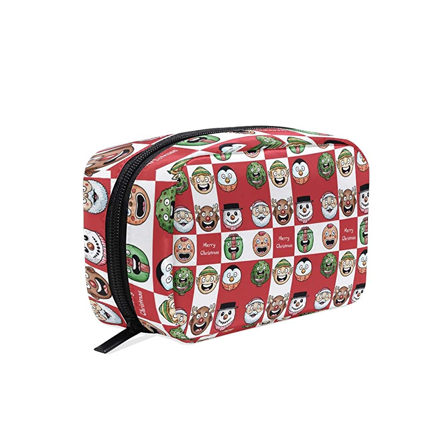 我慢するせがむトレイクリスマスレッドの鹿の贈り物 化粧ポーチ メイクポーチ コスメポーチ 化粧品収納 小物入れ 軽い 軽量 旅行も便利 [並行輸入品]