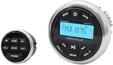 Rockville RGHR2 Marine Gauge Hole Receiver w Bluetooth USB, Radio + Wired Remote