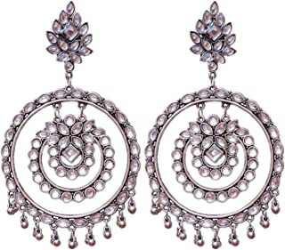 Total Fashion Traditional Base Metal and Mirror Earrings for Women & Girls, Silver