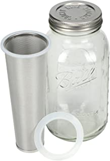 Cold Brew Coffee Makers by County Line Kitchen - 2 Quart - Make Amazing Cold Brew Coffee and Tea with This Durable Mason Jar with Stainless Steel Filter and Stainless Steel Lid
