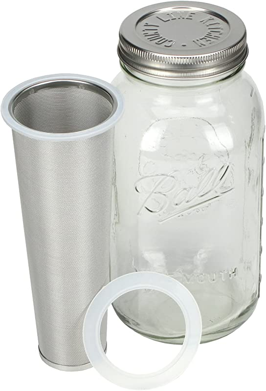 Cold Brew Coffee Maker 2 Quart Make Amazing Cold Brew Coffee And Tea With This Durable Mason Jar With Stainless Steel Filter And Stainless Steel Lid