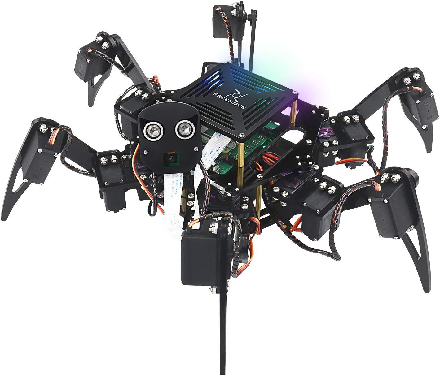 FreenoveBigHexapodRobotKitforRaspberryPi 4 B 3 B+ B A+, Walking, Self Balancing, Live Video, Face Recognition, Pan Tilt, Ultrasonic Ranging, Camera Servo Wireless RC