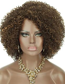 Kalyss Brown with Blonde Highlights Short Afro Kinky Curly Wigs for Black Women Premium Synthetic Hair Wigs with Hair Bangs 150% Density Bouncy and Full Natural Looking Hair Wigs