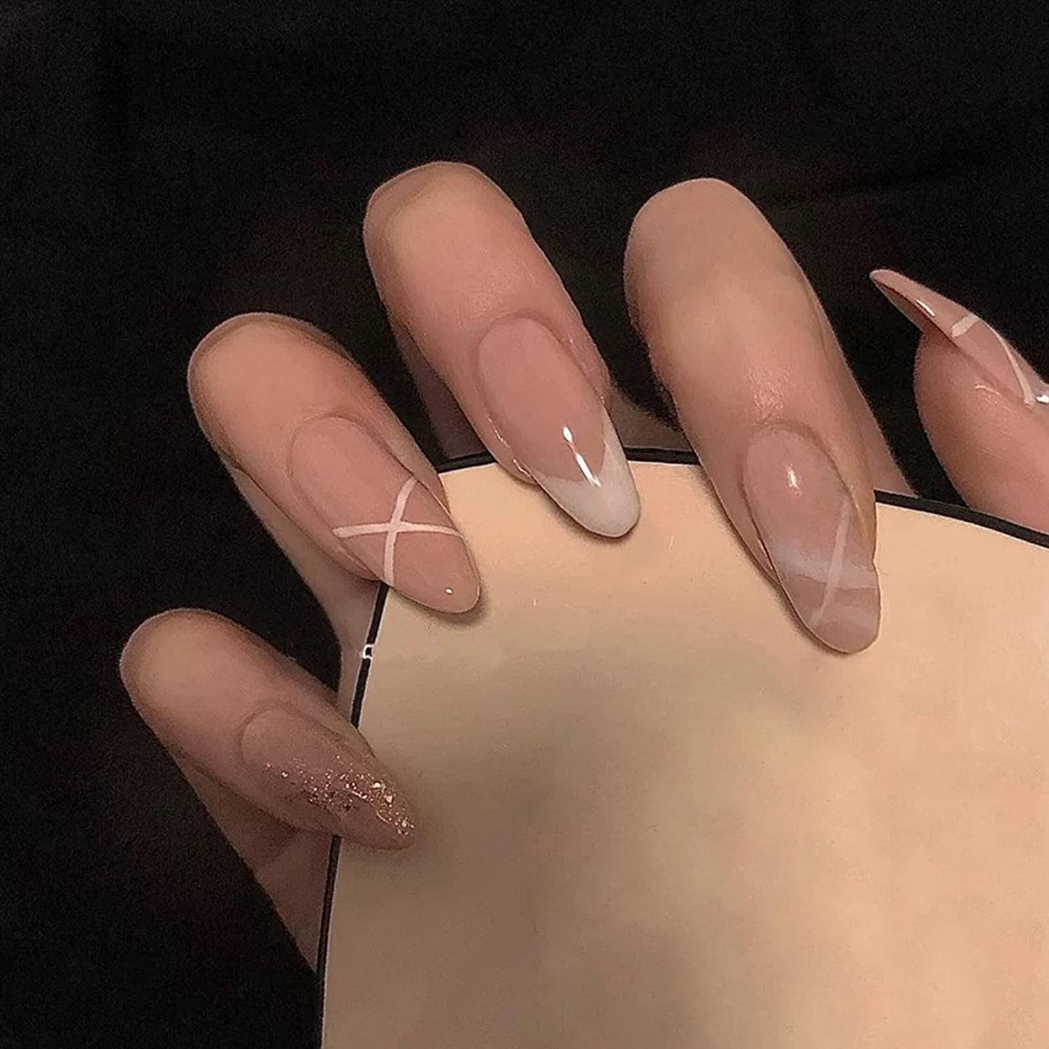 N\C 24pcs Detachable False Nails French He Free shipping anywhere in the nation Seasonal Wrap Introduction Gentle Glitter Almond