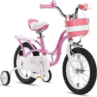 RoyalBaby Girl's Bike Little Swan for 3-9 Years Old 14 16 18 Inch Kids Bike with Training Wheels or Kickstand Basket Girls...