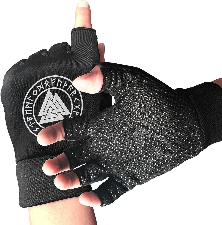 Odin Viking God Valknut With Runes Non-Slip Working Gloves Breathable Sunblock Fingerless Gloves For Women Men