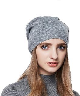58fb02a5d8108 URSFUR Femme Bonnet Jersey Tendance Fille Bonnet Béret Beanie Tricot Chapeau  Laine Hiver