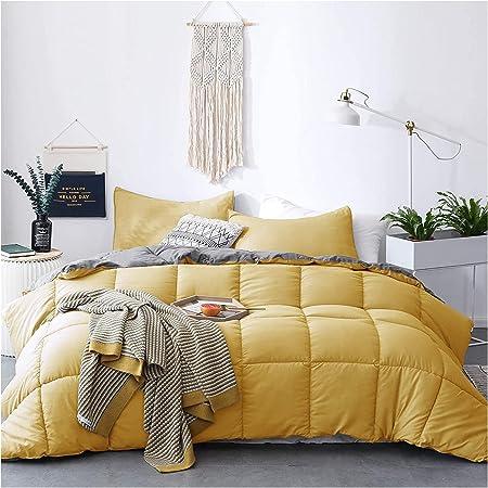 KASENTEX All Season Down Alternative Quilted Comforter Set Reversible Ultra Soft Duvet Insert Machine Washable (Yellow/Grey, Twin Set)