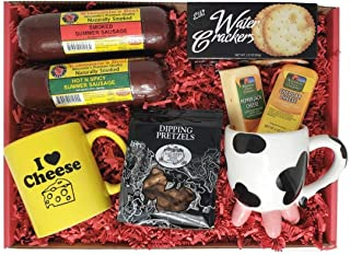 Deluxe Wisconsin Cheese Gift Basket - features Smoked Summer Sausages, 100% Wisconsin Cheeses, Crackers, Pretzels & Mustar...
