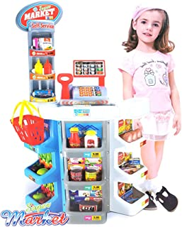 COLOR TREE Kids Grocery Supermarket Shop Stand and Cash Register Play Set Toy