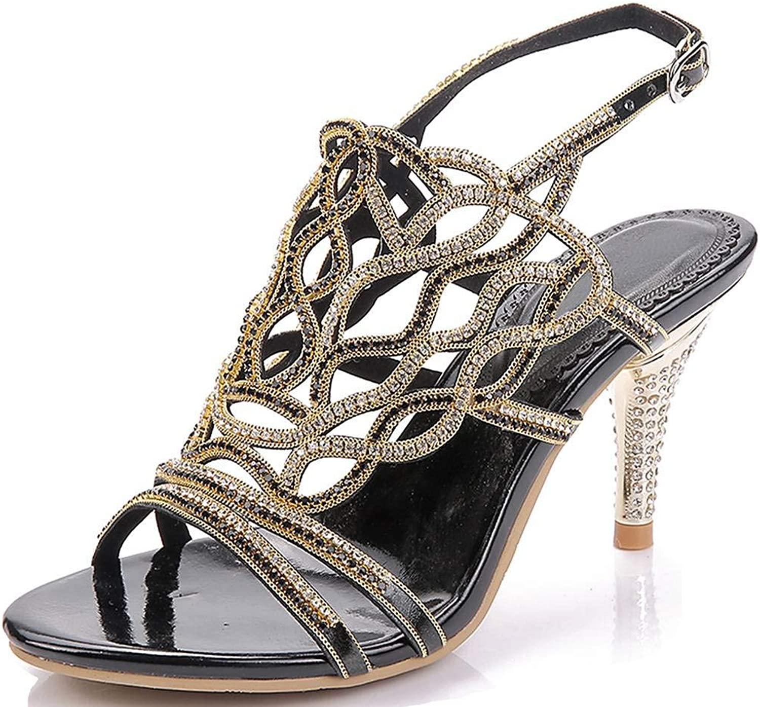 YooPrettyz Strappy Wedding Shield Sandals Rhinestone Cutouts Evening High Heels