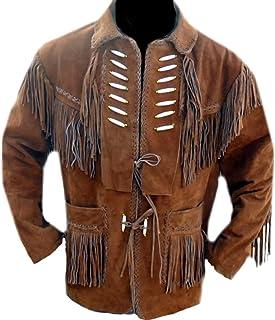 Classyak Western Leather Jacket Fringed & Bones, A Grade Suede Leather, Xs-5xl