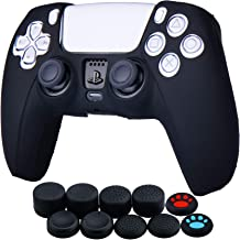 YoRHa Silicone Cover Skin Case for Sony PS5 Dualsense Controller x 1(Black) with Thumb Grips x 10
