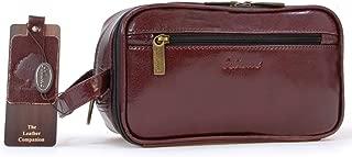 Ashwood Men's Wash Bag/Shaving Bag/Travel Toiletry Bag - Genuine Leather - Chelsea 2080 - Cognac Brown