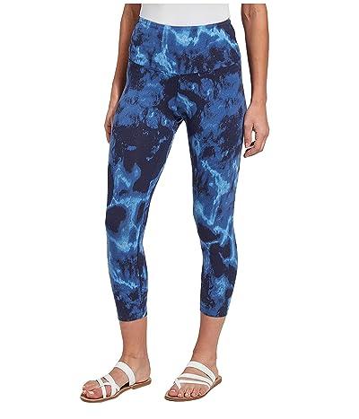 Lysse Flattering Cotton Crop Printed Leggings (Blue Marble) Women